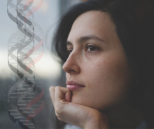 pensive woman and DNA strands